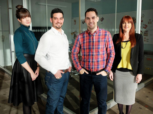 Early members of the Cara in-house team left to right: Kate Harrison, copywriter; Adam Gold, digital graphic production artist; Jason Cassidy, senior manager, digital & creatve; Claire Ford, design manager