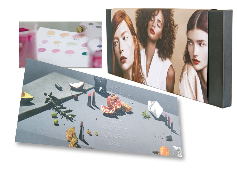 Top left: Teaser videos show the colourful product in production; Right and below: A special edition boxed set featuring the full product line was created for beauty editors